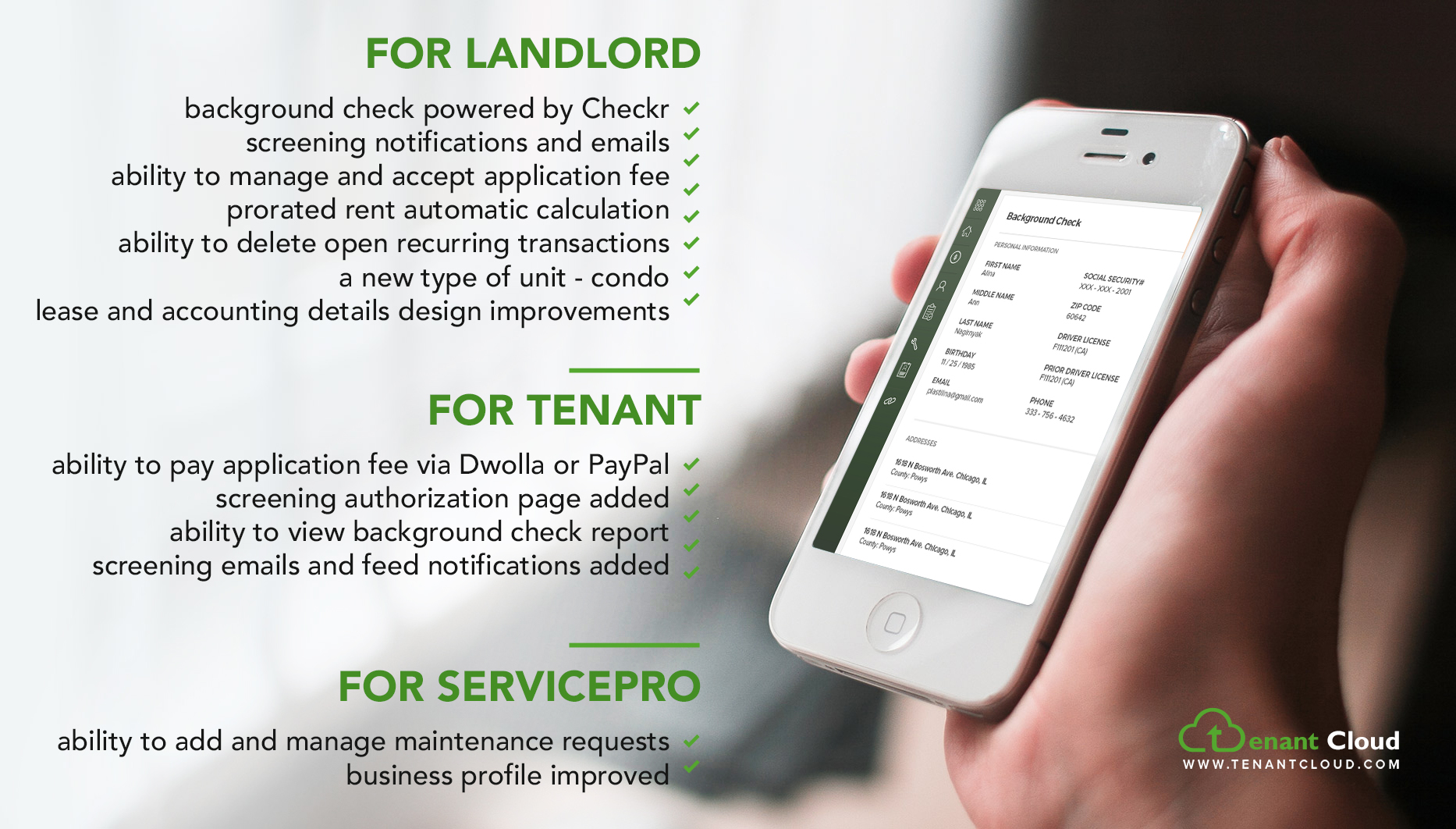 Tenant Screening Process: For landlord, tenant and ServicePro