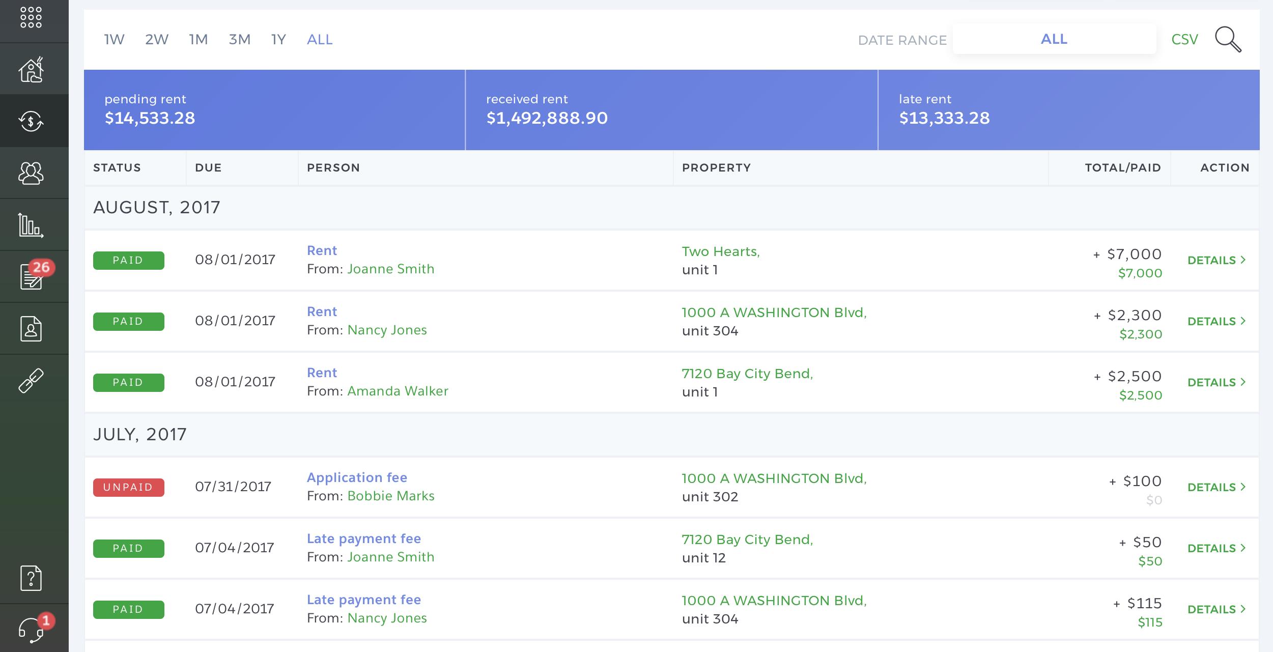 TenantCloud Accounting page